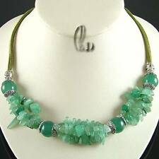 AU SELLER Chic Green Natural Jade&Tibet silver Necklace 010705