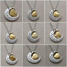"Women Charm Family ""I LOVE YOU TO THE MOON AND BACK "" Necklace Pendant Chain"