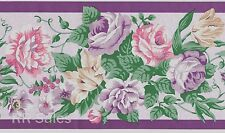 Dusty Lavender Purple Rose Floral Flower Bedroom Wall Wallpaper Border Wallcover