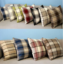 "Sofa Decor Striped Checked Linen Throw Pillow Case Cushion Cover Square 18"" 45cm"