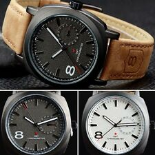Fashion Mens Leather Strap Date Display Army Sport Quartz Wrist Watch Designer