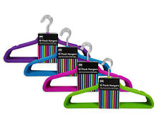 """""""Brights"""" Pack of 10 Adults Flock Velvet Texture Non-Slip Clothes Hangers"""