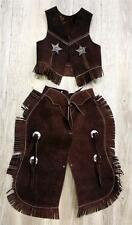 BROWN Suede Leather Halloween costume Western Cowboy Kids Youth Chaps Sm Med Lg