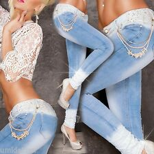 WoW Exclusive MOZZAAR ICE WASHED DIP DYE Damen Jeans Kette Neu