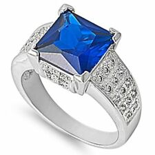 5 CARAT 10x10 BLUE Sapphire & White Topaz .925 Sterling Silver Ring Sizes 6-10