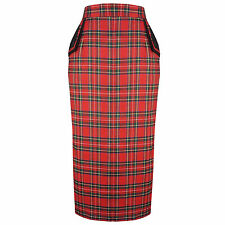 Red Tartan Plaid Retro Vintage Fitted Wiggle Pencil Skirt