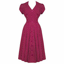 Hell Bunny Harriet Raspberry Red Dot 40s Victory WW2 Tea Party Dress