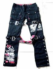 2Way Visual Kei Rock Tartan Suspenders Cyber Street Fighter Punk Pants Trousers