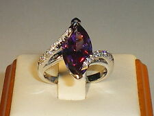 Ladies Solid 925 Sterling Silver 2 Carat Amethyst & White Sapphire Cocktail Ring