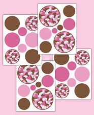 Pink Brown Camo Polka Dot Wall Decals Teen Girls Room Camouflage Stickers Decor