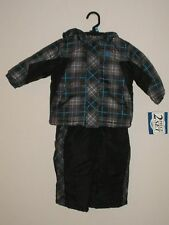 BLUE PLAID 2 PIECE HOODED ARCTIC QUEST PUFFER SET NICE SIZES 12  18 MONTHS