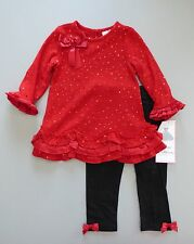 RARE EDITIONS® Girl's 4T Red Glitter 2 Pc. Holiday Sweater Dress Set *NWT*