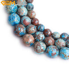 """Round Faceted Blue Crazy Lace Agate Gemstone Loose Beads Strand 15"""" 4-14mm Pick"""