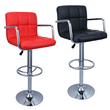 2 Bar Stools Leather Modern Hydraulic Swivel Pub Pair Chair Barstool w/ Armrest