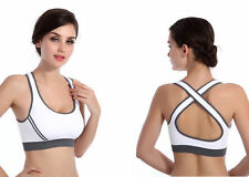 Women's Padded Racer Back Sport Bra Comfy Yoga Fitness Stretch Crop Top Vest
