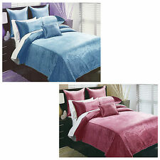 6 Pce Spot Quilted Coverlet + 2 P/cases + 2 Eurocases + Cushion Fit DOUBLE QUEEN
