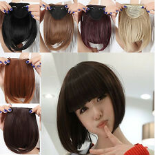 Girl Clip On Clip In Front Hair Bang Fringe Hair Extension Straight one piece 5W