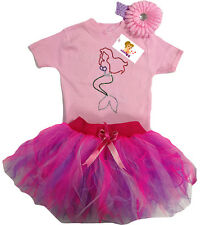 Baby Girl Pink Little Mermaid Sparkle T Shirt Neon Tutu 80's Fancy Dress Costume
