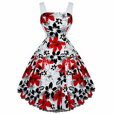Hearts and Roses London Red White Floral 50s Vintage Party Swing Dress