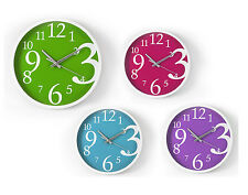 """""""Brights"""" Pink Wall Clock 23cm Ideal for Kitchen, Bedroom & Dining Room"""