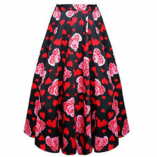 Hearts and Roses London Floral Heart Print Vintage 50s Flared Skirt