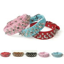 Pet Dog Cat Adjustable Collar Rivet Strap Buckle Studded Spiked PU Leather