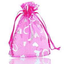 Wholesale lots 9x12cm Fuchsia Heart Organza Gift Bags Wedding/Christmas Favor