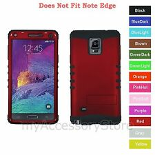 For Samsung Galaxy Note 4 Red Hard+Rubber Hybrid Rugged Impact Armor Phone Case