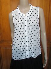 Fcuk, French Connection White & Black Sleeveless Button Down Blouse NWT Sz 6 10
