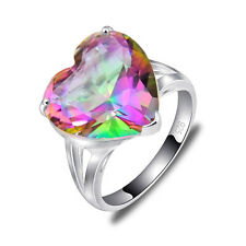 Gorgeous Lady's Gift Natural Rainbow Mystical Topaz Gems Silver Ring Size 7 8 9
