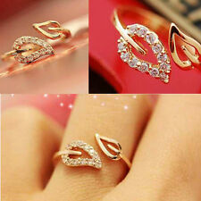 Korean Style Delicate Gold Filled Rhinestone Leaf Finger Ring Jewelry Gift JT66