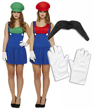 Señoras Mario Luigi 1980 y 1990, Fancy Dress Costume Traje Chicas Lady fontanero 8-10