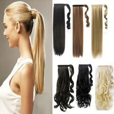 High Quality Velcro Stap Ponytail Tight Pony Tail Clip in Hair Extensions curly