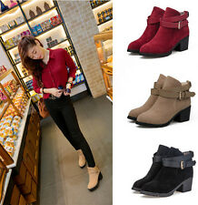 New Women's Suede Ankle Strap Round Head Cuban Heel Knight Boots Pull On Boots
