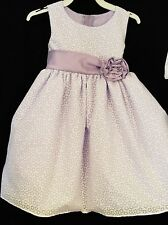 Lito L683B Lilac Sleeveless Dress, Round Neckline Flower,Sash. Girls 2-4 T .