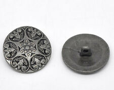 Wholesale Lots Silver Tone Carved Pattern Sewing Metal Buttons 25mm