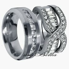 Fine His Hers 3 Pcs Mens Womens Stainless Steel Wedding Engagement Ring Band Set