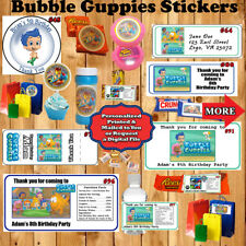 Bubble Guppies Birthday Stickers/Labels 1 Sheet for Favor Bags/Box Personalized