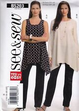 BUTTERICK SEWING PATTERN SEE & SEW MISSES TUNIC TOP PANTS 8 - 22 5203 HALF PRICE