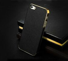 Luxury Synthetic Leather Chrome Hard Back Case Cover For Apple iPhone 4 4S 5 5S