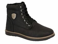 Firetrap Black Mens Boots Shoes High Ankle Leather Look Work Hiking Lace Up