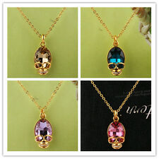 Women 14k GoldFilled Austrian Crystal Skull  Pendant Necklace Jewelry In 6 Color