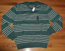 NEW NWT Mens GAP Green Striped 100% Cotton V-Neck Sweater XS S XL $45 *C8