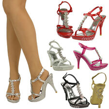 Womens Dress Sandals High Heels Platforms Sexy T-Strap Rhinestones Shoes Sz 5-10