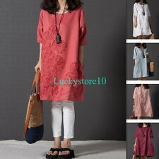 Casual Women Short Sleeve Embroidered Cotton linen Ethnic Loose Dress S - 2XL