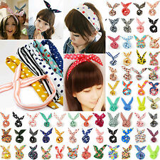 1pc Girl Rabbit Bunny Ear Ribbon Wire Headband Hair Tie Cute Head Bow H1245-1265