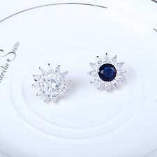 Jewelry New White/Blue Sapphire Stud Earrings Lady's 10Kt White Gold Filled Gift