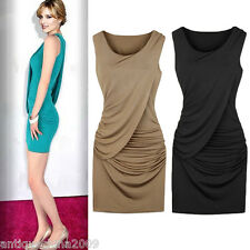 Sexy Women Dress Silk Ruffles Sleeveless Party Ball Gown Bodycon Mini Dress M L