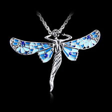 Lovely Retro Dragonfly Angel Tibetan Silver Crystal Pendant Necklace Long Chain
