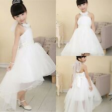 Formal Wedding Party Flower Girl Pageant Tulle Dresses Princess Dress White